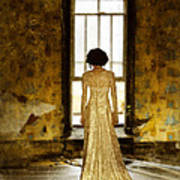 Beautiful Woman In Lace Gown In Abandoned Room Art Print