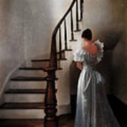 Beautiful Young Woman Standing In Gown By Stairs Art Print