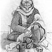 Beggar 2  In The  Winter Street Sitting On Floor Wearing Worn Out Cloths Art Print