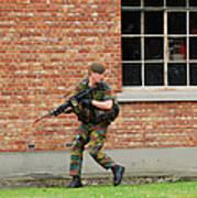 Belgian Infantrists Under Attack Art Print by Luc De Jaeger