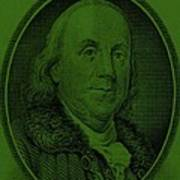 Ben Franklin In Dark Green Art Print
