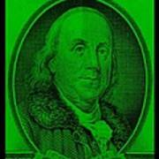 Ben Franklin In Green Art Print