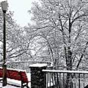 Bench With Snow Art Print
