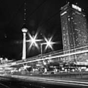 Berlin Alexanderplatz At Night Art Print by Bernd Schunack