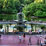 Bethesda Fountain Overlooking Central Park Pond Art Print