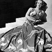 Bette Davis Wearing Gown With Calla Art Print