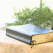 Bible And Microphone On Table Art Print
