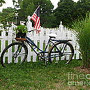 Bicycle And Picket Fence Art Print