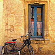 Bicycle And Window In France Art Print
