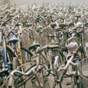 Bicycle Park In Beijing In China Art Print