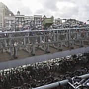 Bicycles Parked On City Sidewalk Art Print