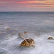 Big Rock Against The Waves Art Print