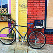 Bike Leaning On The Colorful City Walls Of Asheville  Art Print