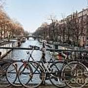 Bikes On The Canal In Amsterdam Art Print
