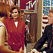 Bill Clinton, Being Interviewed Print by Everett