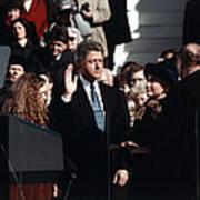 Bill Clinton Center, Taking The Oath Art Print by Everett
