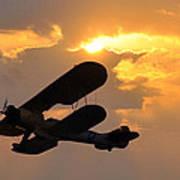 Biplane At Sunset Art Print