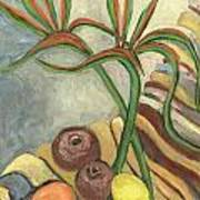 Bird Of Paradise Flowers And Fruits On A Carpet In Yellow Brown Green Art Print