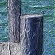 Bird On Pier Art Print