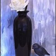 Birdie And The Rose Art Print