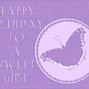 Birthday Girl Greeting Card - Mourning Cloak Butterfly Art Print