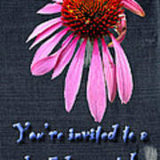Birthday Party Invitation - Coneflower Art Print