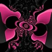 Black And Pink Fractal Butterfly Art Print
