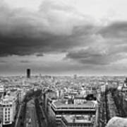 Black And White Aerial View Of An Overcast Sky Above The Eiffel Tower Art Print by Stockbyte