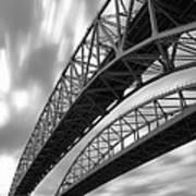 Black And White Blue Water Bridge Art Print