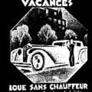 Black And White French Car Art Print