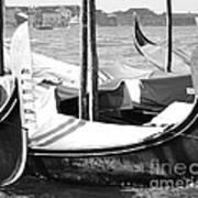 Black And White Gondolas Venice Italy Art Print