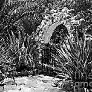 Black And White Mexican Patio With Stone Arbor San Diego California Usa Art Print