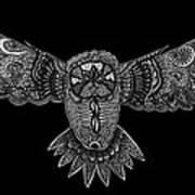 Black And White Owl Art Print
