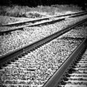 Black And White Railroad Tracks Art Print