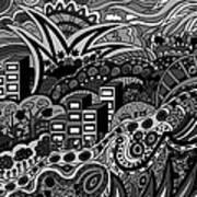 Black And White Seaside Art Print
