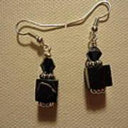 Black Cube Drop Earrings Art Print