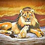 Black Maned Lion And Cub Art Print