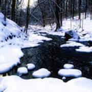 Black River Winter Scenic Art Print