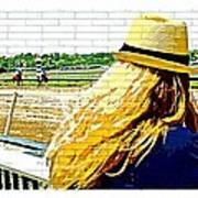 Blonde At Racetrack Art Print