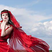 Blown Away Woman In Red Series Art Print