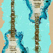 Blue Abstract Guitars Art Print