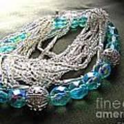 Blue And Silver Bead Bracelet Art Print