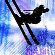 Blue And White Splashes With Ski Jump Art Print