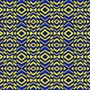 Blue And Yellow Chevron Pattern Art Print