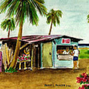 Blue Beach Shack Los Pinones Puerto Rico Art Print