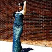 Blue Beaded Dress Art Print