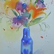 Blue Bottle Bouquet Art Print