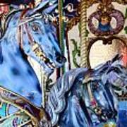 Blue Carousel Merry Go Round Horses Art Print