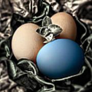 Blue Classy Easter Egg Art Print