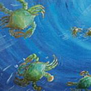 Blue Crab Run Art Print